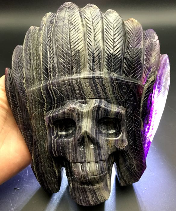 Natural Dream fluorite Hand carved Decoration skull  -175 x 160 x 55 mm - 2211 gm