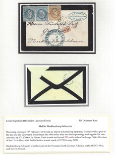 France 1870 - Franking of Morning-Letter Louis Napoleon III Empire Laureated Issue - 50c rate to Mecklemburg-Schwerin