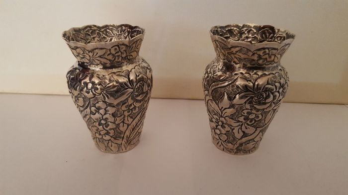 Two silver flower vases Turkish