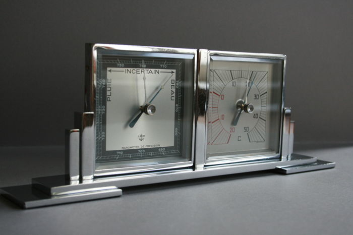 Art Deco style barometer and thermometer - chrome Martin - models around 1930
