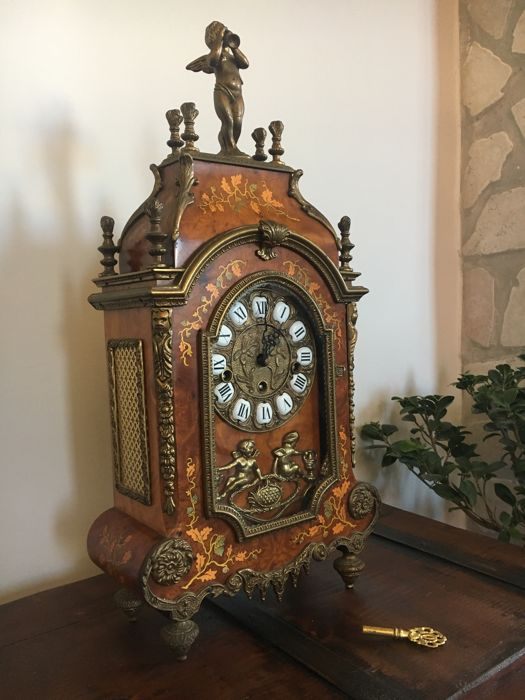 Antique Mantel Clocks >> Large Antique Mantel Clock With German Made Mechanical Movement