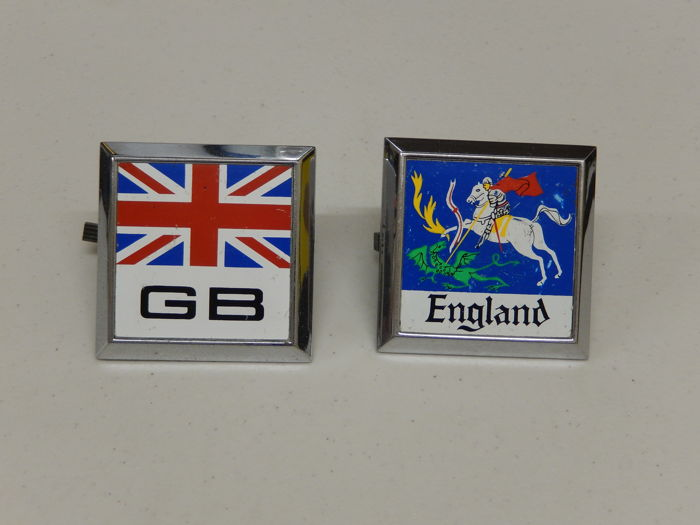 Vintage Great Britain GB Union Jack Flag and England Flag Car Badges Auto Emblems with original fittings