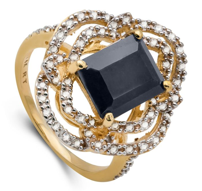 14kt Yellow Gold Ring Midlnight Dark Sapphire  and 66 Diamonds 0.45 ct Total - US7