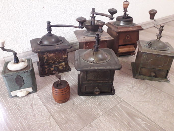 Collection of 7 antique coffee grinders