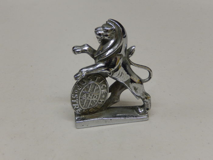 Beautiful Vintage Chrome Plated Lion Car Mascot Auto Emblem Cast by Hertbert & Sons Ltd of England 1950's