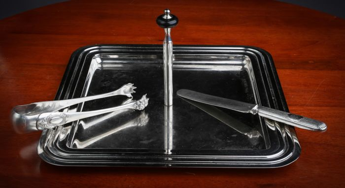 Dessert tray with tongs & knife, silver plated metal, Art Deco, 1930