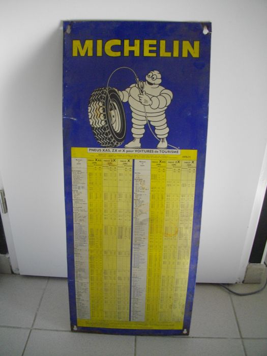 Old plate - pressure of Michelin tires 1970/1971