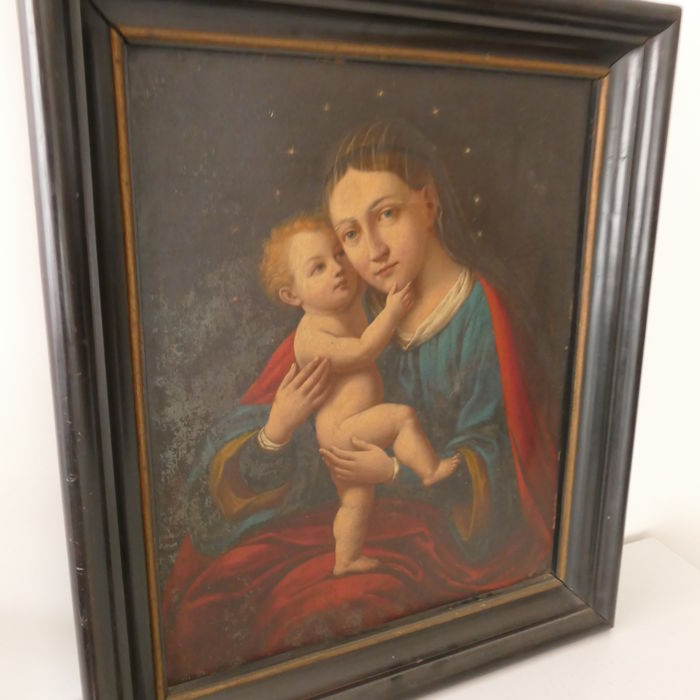 Religious antiquity Mary with child, oil on metal sheet, painted