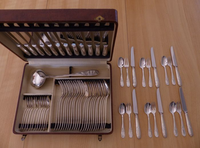 "67-piece silverware set, ""floral"" model, REX, 1950"