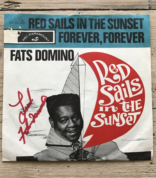 "Fats Domino: signed single ""Red Sails in the Sunset"""