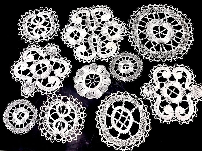 Collection of hand-made lace doilies - 1950