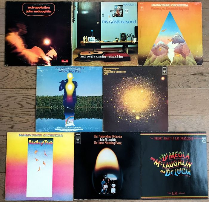 "John McLaughlin/ Mahavishnu Orchestra lof of EIGHT lp's: ""Extrapolation"" ""My goals beyond"" ""Visions of the emerald beyond"" ""Apocalypse"" ""Between nothingness & eternity"" ""Birds of fire "" The inner mounting flame"" ""friday night in san Francisco"""