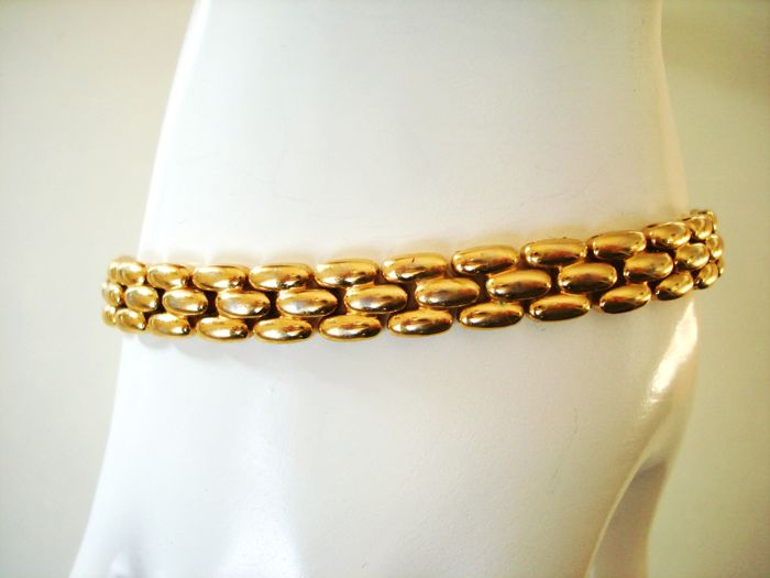 Vintage 1970s - 12K yellow Gold plated tight basket weave flat link chain wrist Unisex Bracelet - NO Reserve