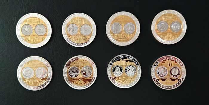 Europe – Set of various medals 'First Strike Euro Countries' (8 different kinds) – Silver, partly gold-plated