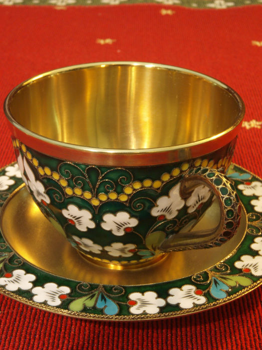 Russian coffee tea set silver 925/1000, gold-plated Cloisonné enamel  Russkie Samotsvety, St  Petersburg original invoice 17 900,- German Marks,  since