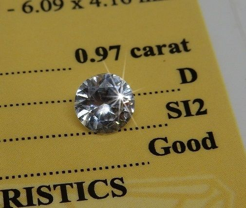 Natural diamond, 0.97 ct, colour D