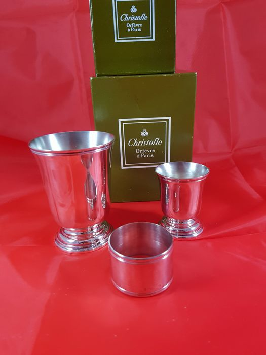 Cup, egg cup and napkin ring, Christofle, NEW/mint condition, Cluny