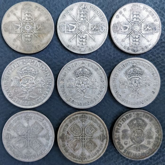 United Kingdom - Florins (Two Shillings) 1920/1943 George V and VI (9 pieces) - silver