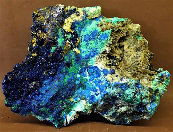 Very bright Azurite and Malachite - 18 χ 14 χ 2 -4 cm - 1170 gm