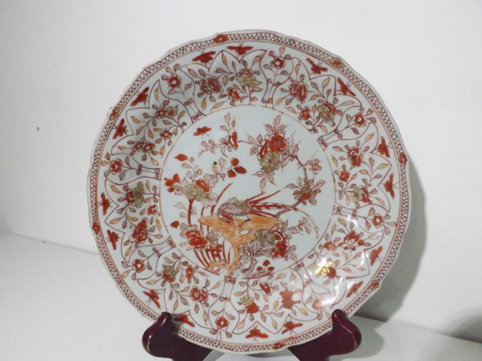 Kangxi Porcelain Plate, Iron Red, Blood Milk - China - Circa 1700