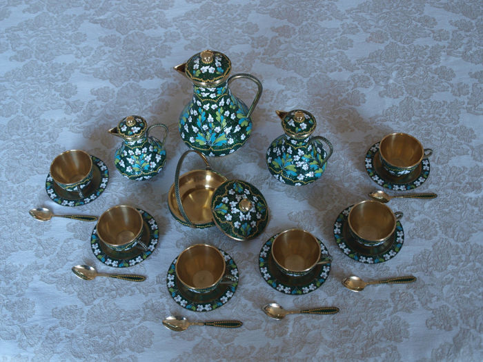 Russian coffee tea set silver 925/1000, gold-plated Cloisonné enamel Russkie Samotsvety, St. Petersburg original invoice 17.900,- German Marks, since 1958
