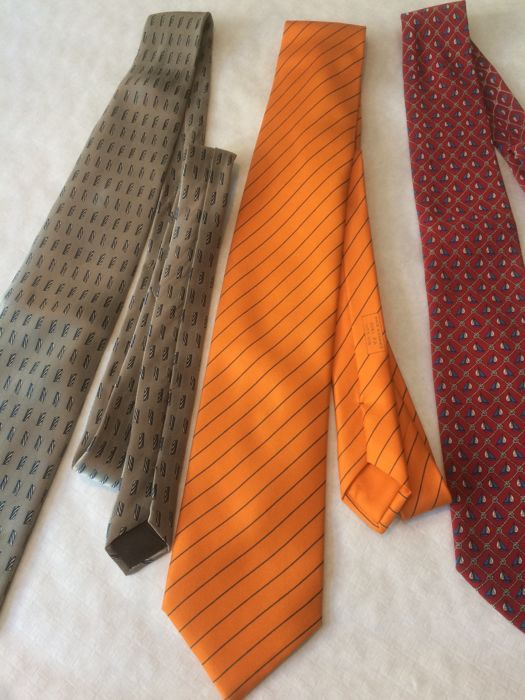 lot of 3 ties, Hermès, Lanvin, Yves Saint Laurent - tie