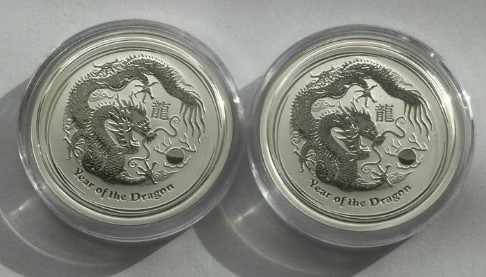 Australia - 50 Cents 2012 'Year of the Dragon' (2 coins) - 2x 1/2 oz silver