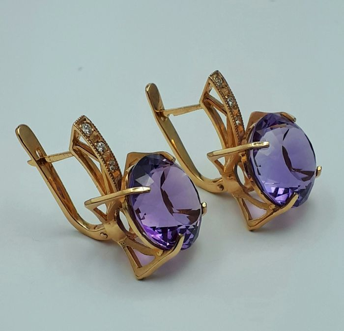 14 Ct Red Gold Earring With  Amethyst & Diamonds, Size:2.50cm, Total Weight:9.56g