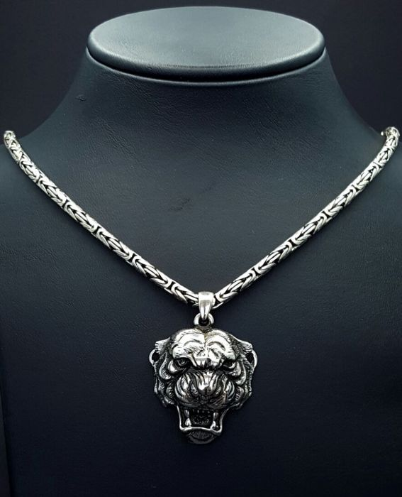 925 Italian Sterling Silver chain with Tiger Head Pendant,Chain:60 cm
