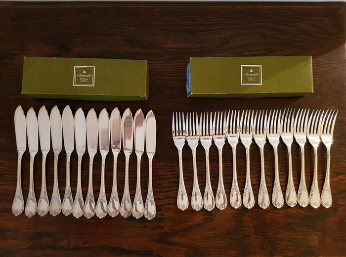 Silverware set for fish course, Christofle