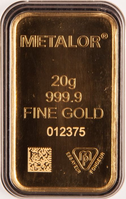 Gold ingot, 20 g, Metalor Switzerland with certificate