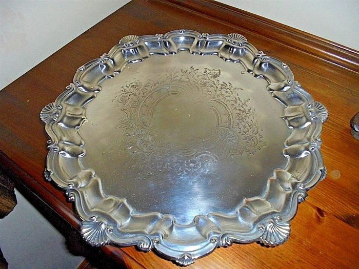 Nice silver plated tray, with shell decorations and studs