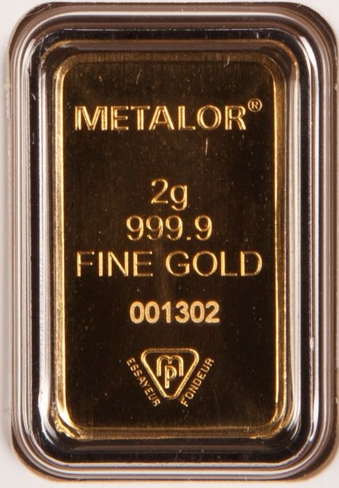 Gold bar, 2 gr, Metalor Switzerland with certificate