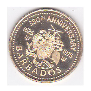 Barbados - 100 dollar 1975 '350th Anniversary of the English Ship' - Gold