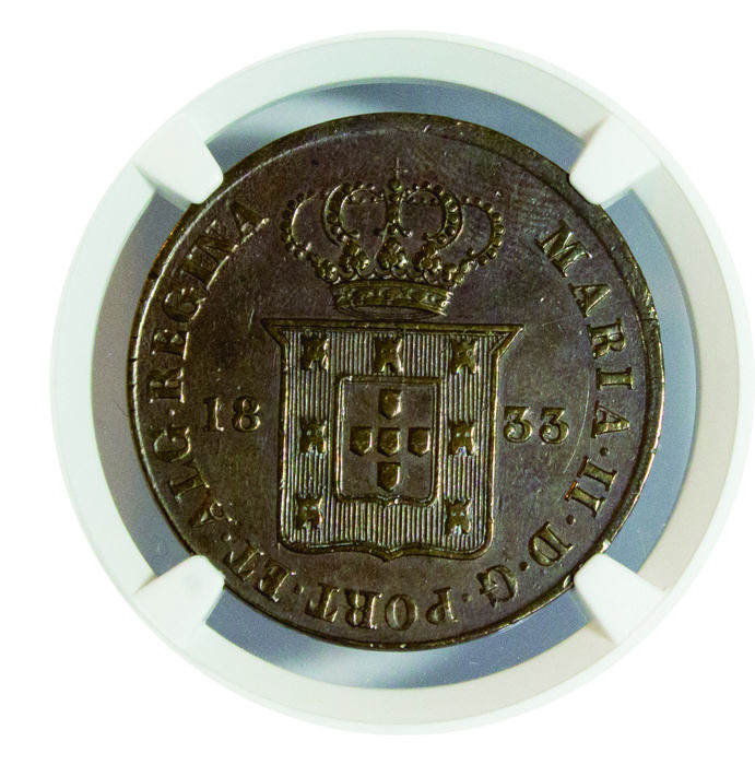 Portugal, Monarchy - D. Maria II (1834–1853) - Ducal - 20 Reis - 1833 - NGC (XF Details) - Copper - Rare