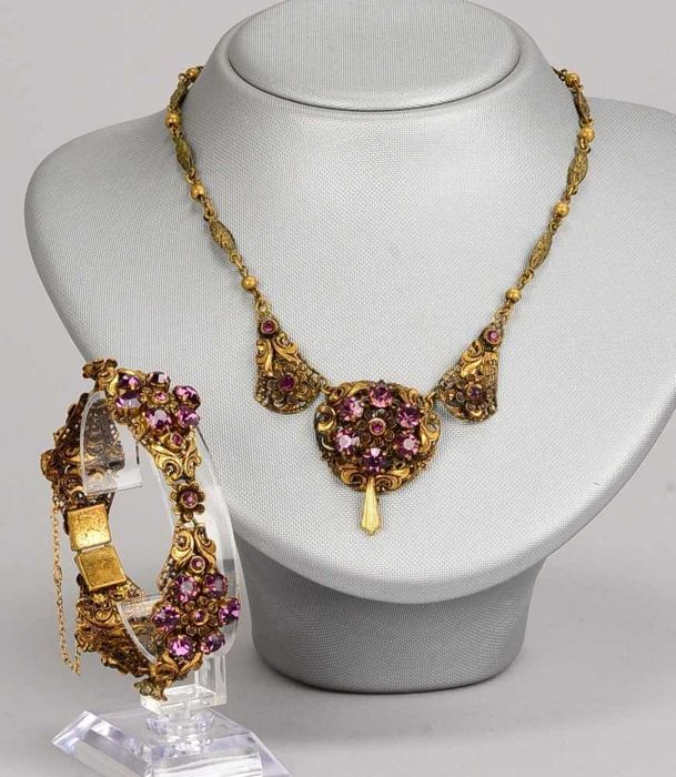 Two-piece high quality handcrafted jewellery set, Bohemia, ca. 1880: necklace and bracelet set Amethyst glass stone.