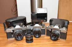 3 Praktica SLR cameras from the 1970s with M42 mount, the Super TL3, the MTL 3 and the LB with two ever ready bags and a Braun flash.