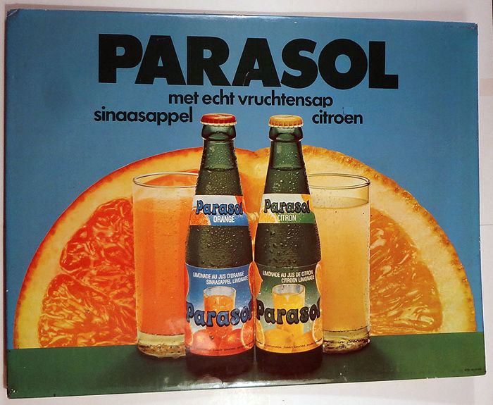 2 original advertising signs in cardboard: Limonade Parasol -1979 & Coca Cola - 1980s