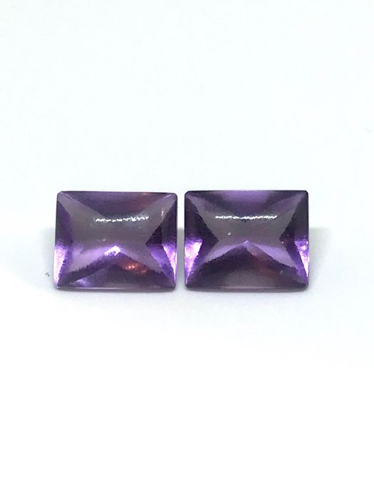 Pair of amethysts – 6.45 ct – No reserve price