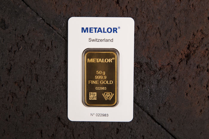 50 gramos - Oro .999 (24 quilates) - Metalor - Sello + certificado