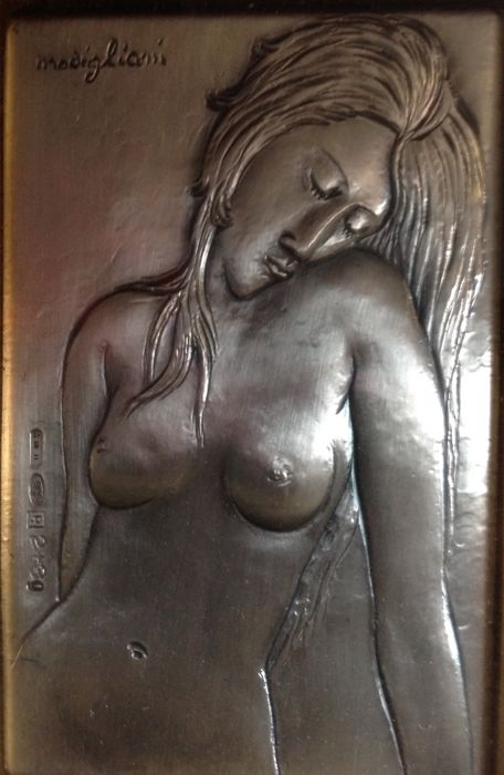 Amedeo Modigliani - 'Donna nuda, Iris Tree' Engraving on silver layer, signed, 1960s