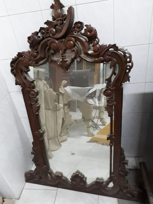 Mirror in antique mahogany decorated with floral ornaments - France - Baroque style - 1900s