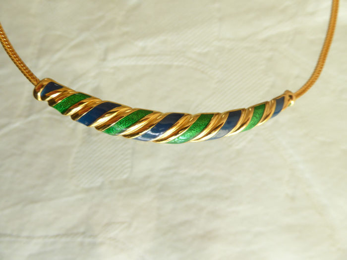 JOMAZ© - Joseph Mazer signed blue and green enamelled choker - 20 g - 40 cm