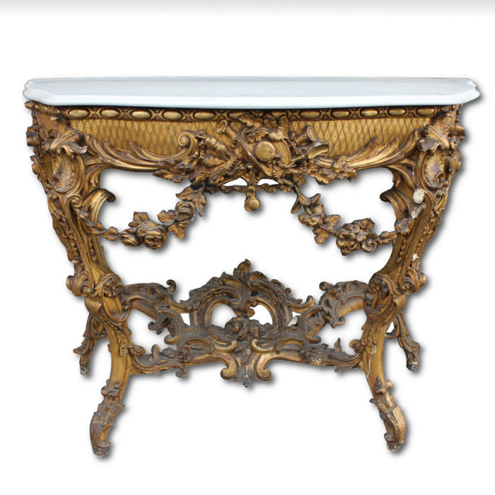 Gilt console in Louis XV style - France - second half of the 19th century