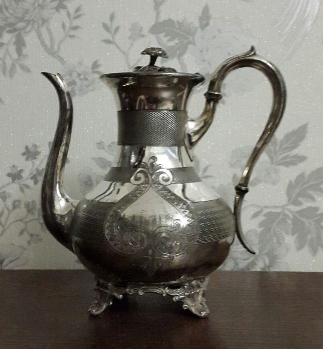Victorian coffee pot with decoration - silver plated