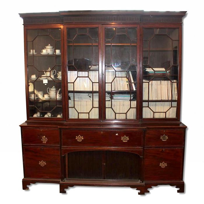 Mahogany bookcase with secretaire, Georgian revival - 19th century