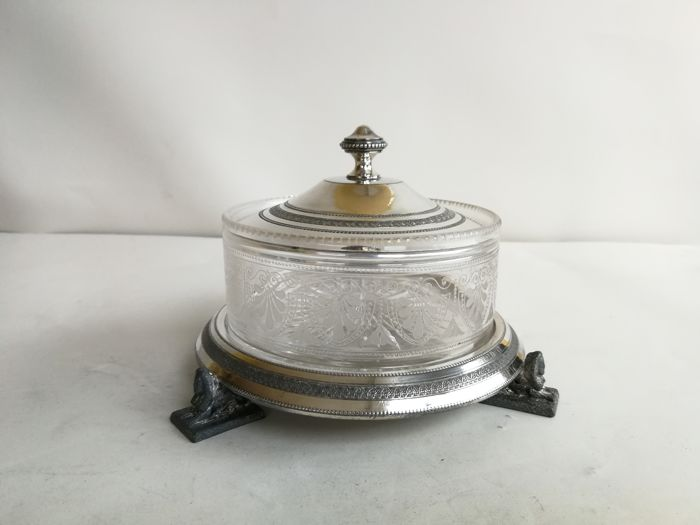 Beautiful ornate Victorian silver plate - with Sphinx feet and cut glass caviar dish - with lid - by r. Broadhead & Co