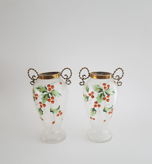 Set of Art Nouveau ornamental vases with enamelled decoration and brass frame