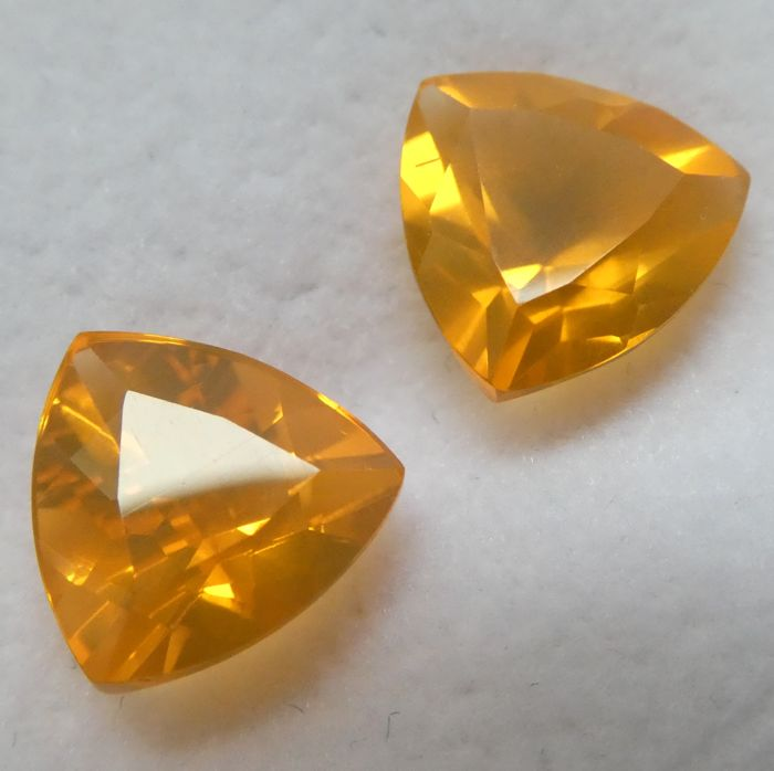 Fire Opal Matching Pair – 3.61 ct Total