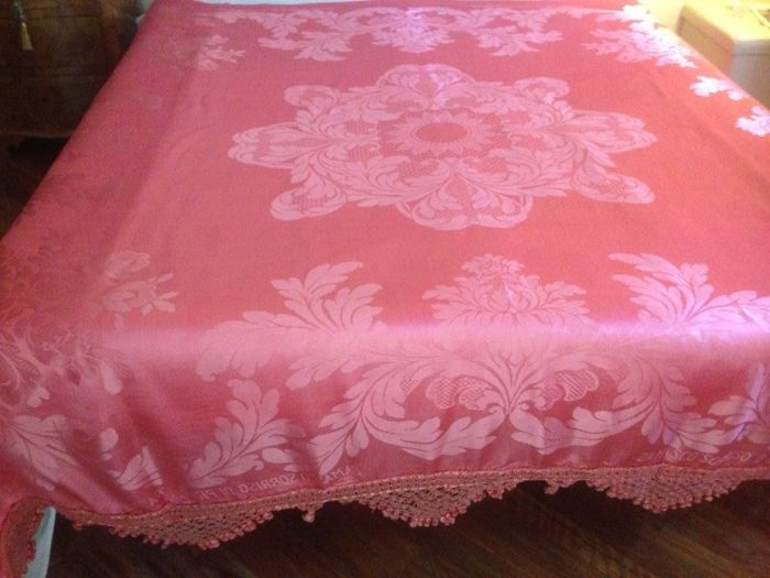 "Antique bedspread made with high quality coral pink damask silk San Leucio - ""sorriso di primavera"""